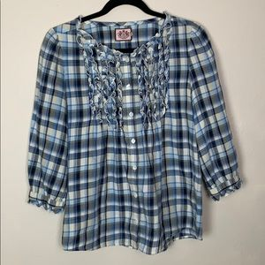 Juicy Couture Button Down Plaid Ruffled Shirt